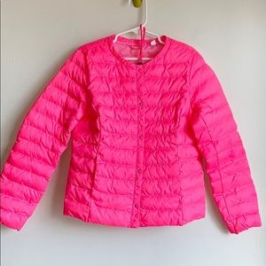 Neon pink soft packable puffer jacket